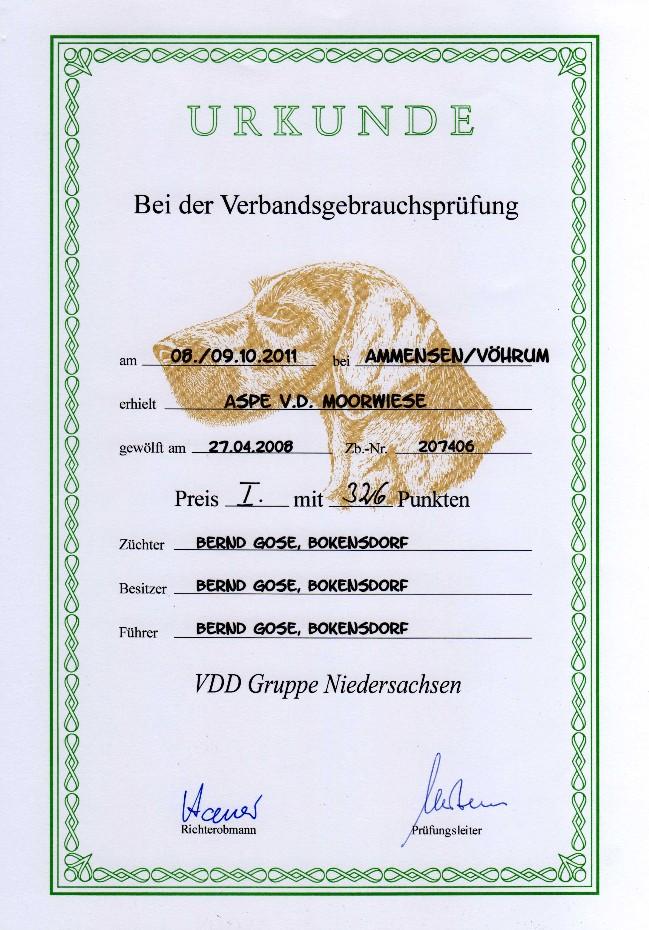 Urkunde VGP Aspe von der Moorwiese