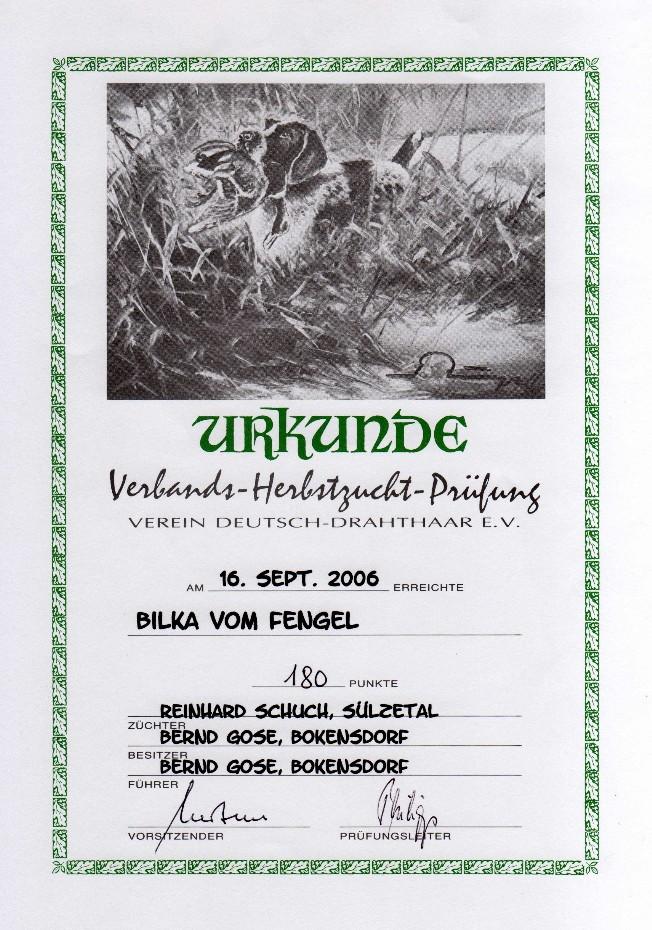 Urkunde HZP Bilka vom Fengel