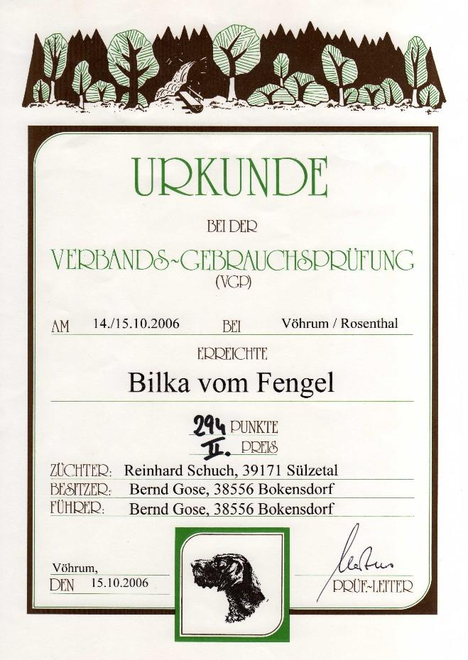 Urkunde VGP Bilka vom Fengel